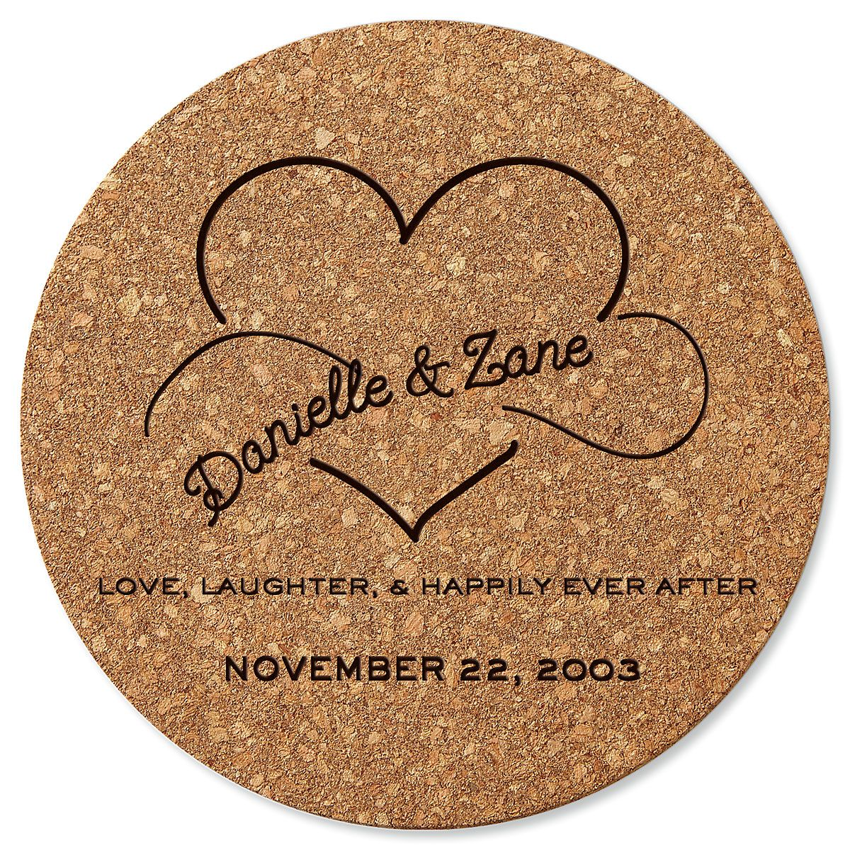 Personalized Happily Ever After Round Cork Trivet