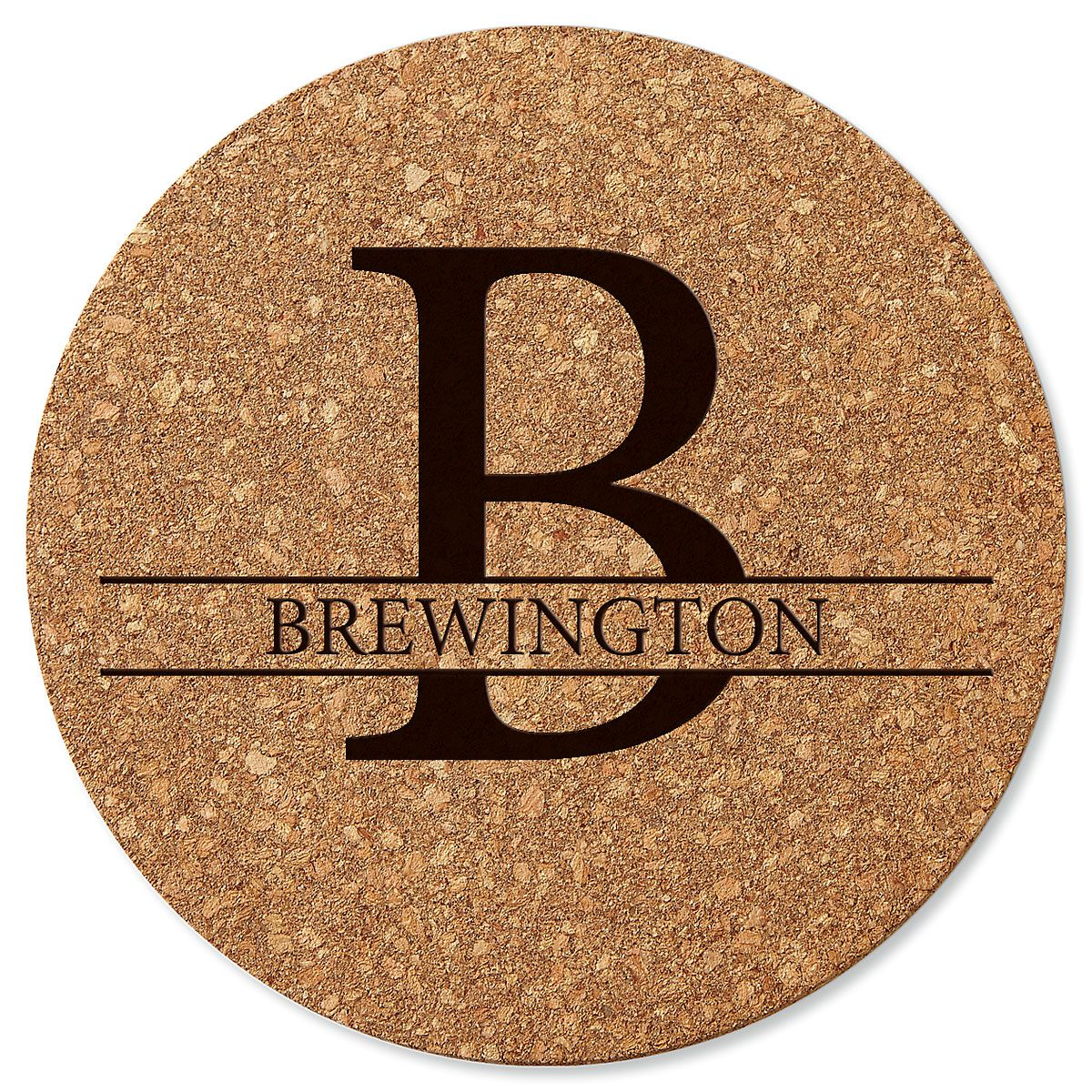 Personalized Initial and Last Name Round Cork Trivet