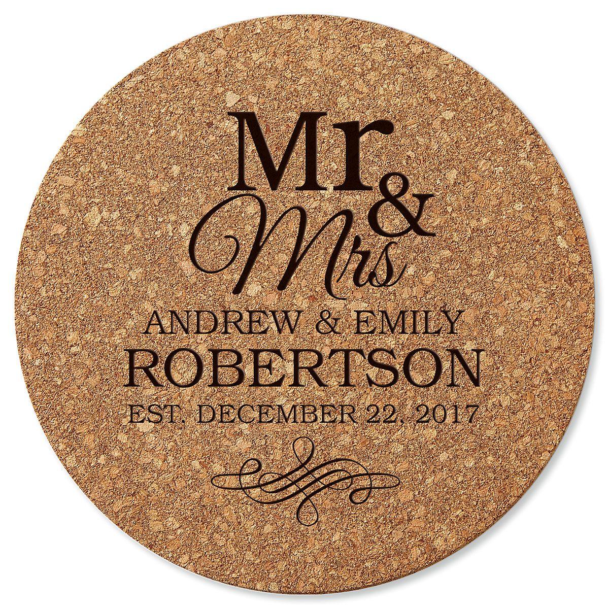 Personalized Mr. & Mrs. Round Cork Trivet by Designer Jillian Yee-Pham