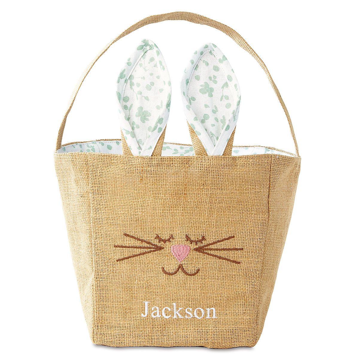 Mint Jute Bunny Basket