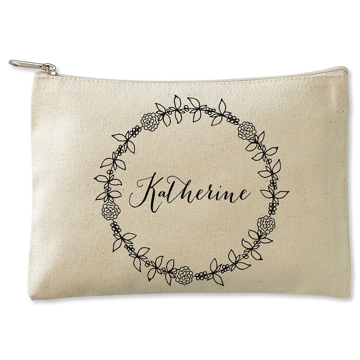 Personalized Wreath Name Zippered Canvas Pouch