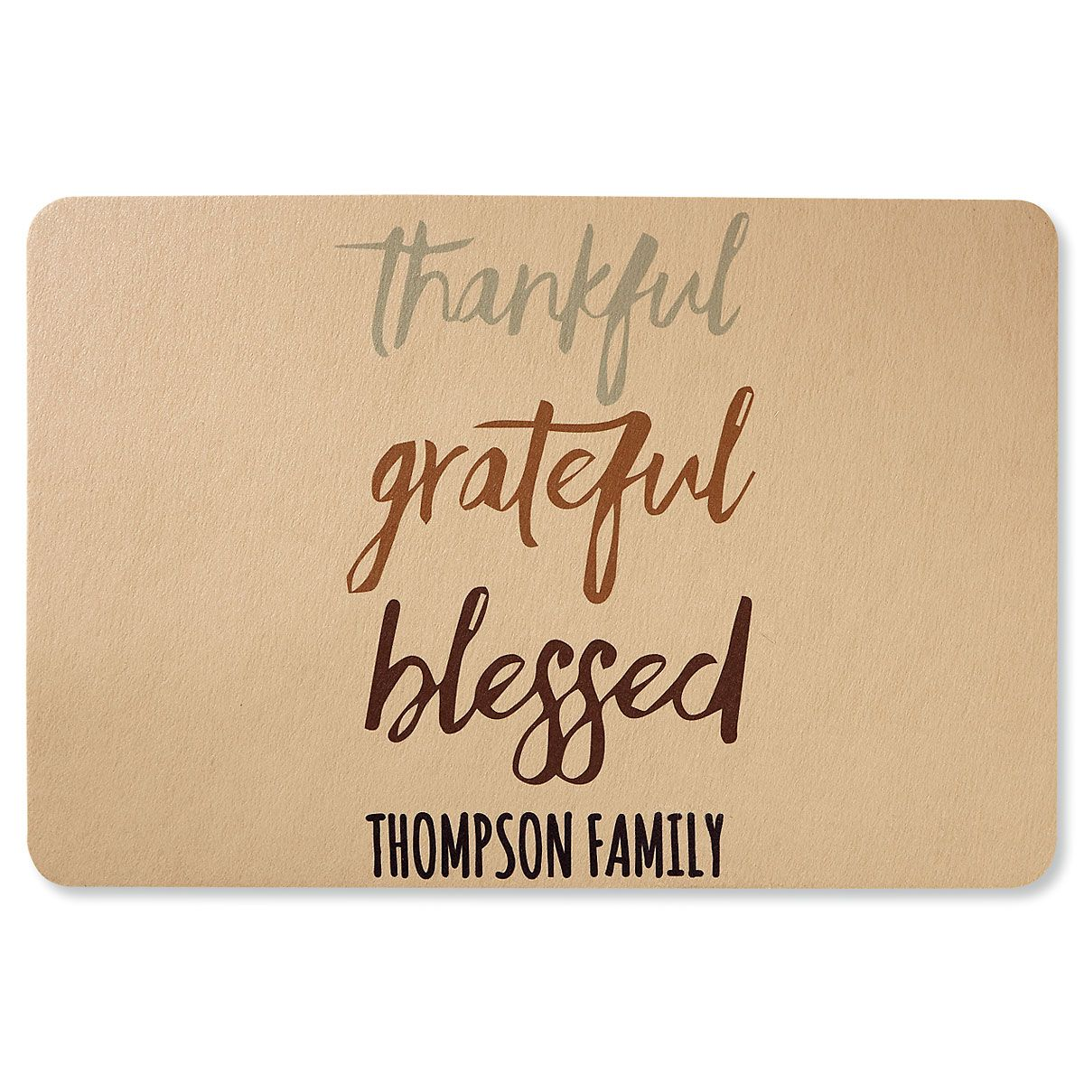 Thankful Grateful Blessed Personalized Doormat