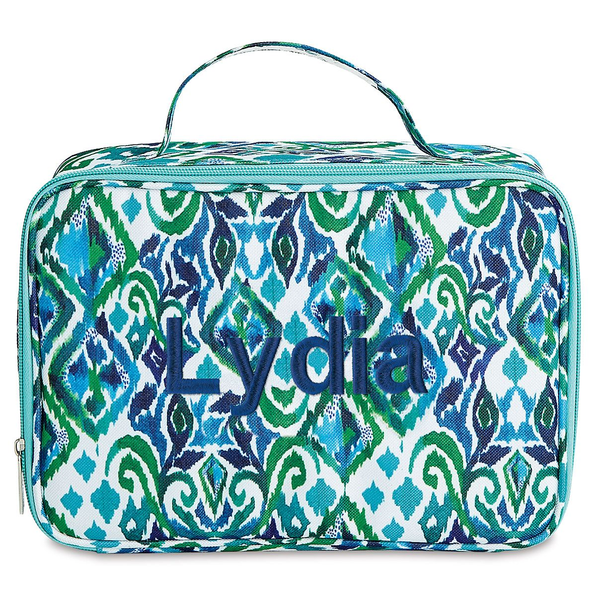Personalized Blue Diamond Lunch Bag  – Name