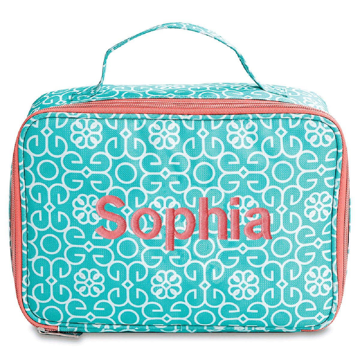 Personalized Mint Damask Lunch Bag