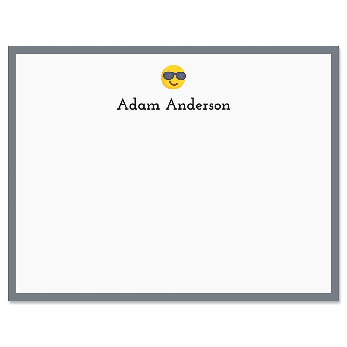 Grey Cool Emoji Correspondence Cards