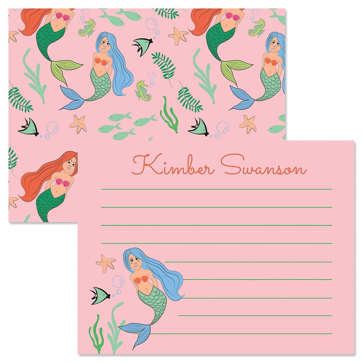 Pink Mermaid Correspondence Cards