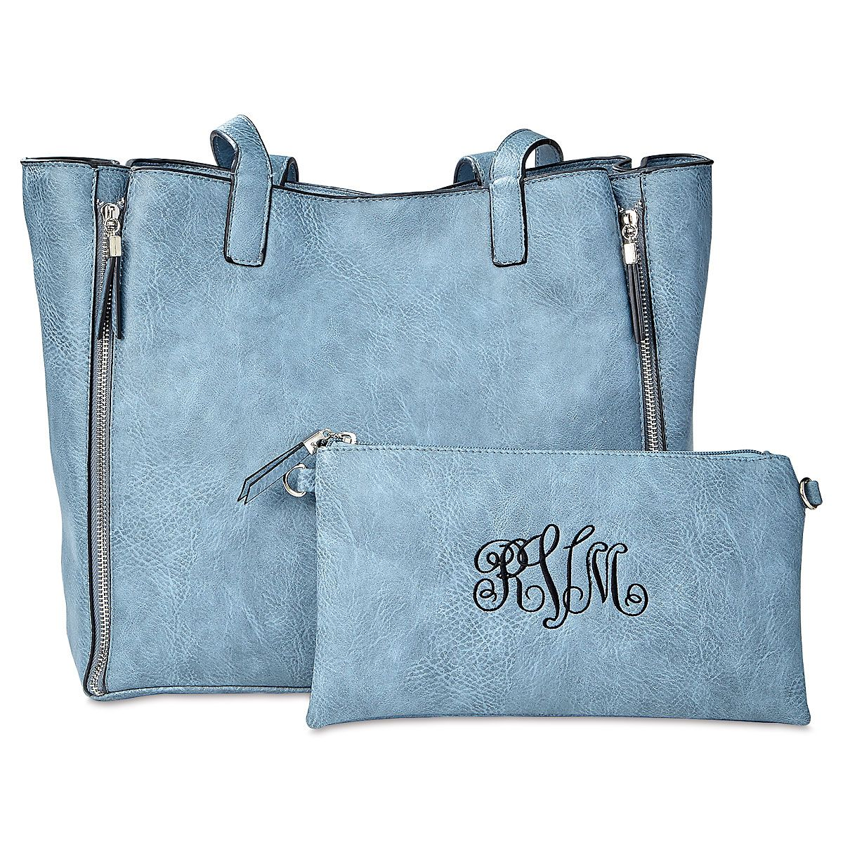 Blue Carry-All Nora Tote Bag with Matching Personalized Crossbody Purse