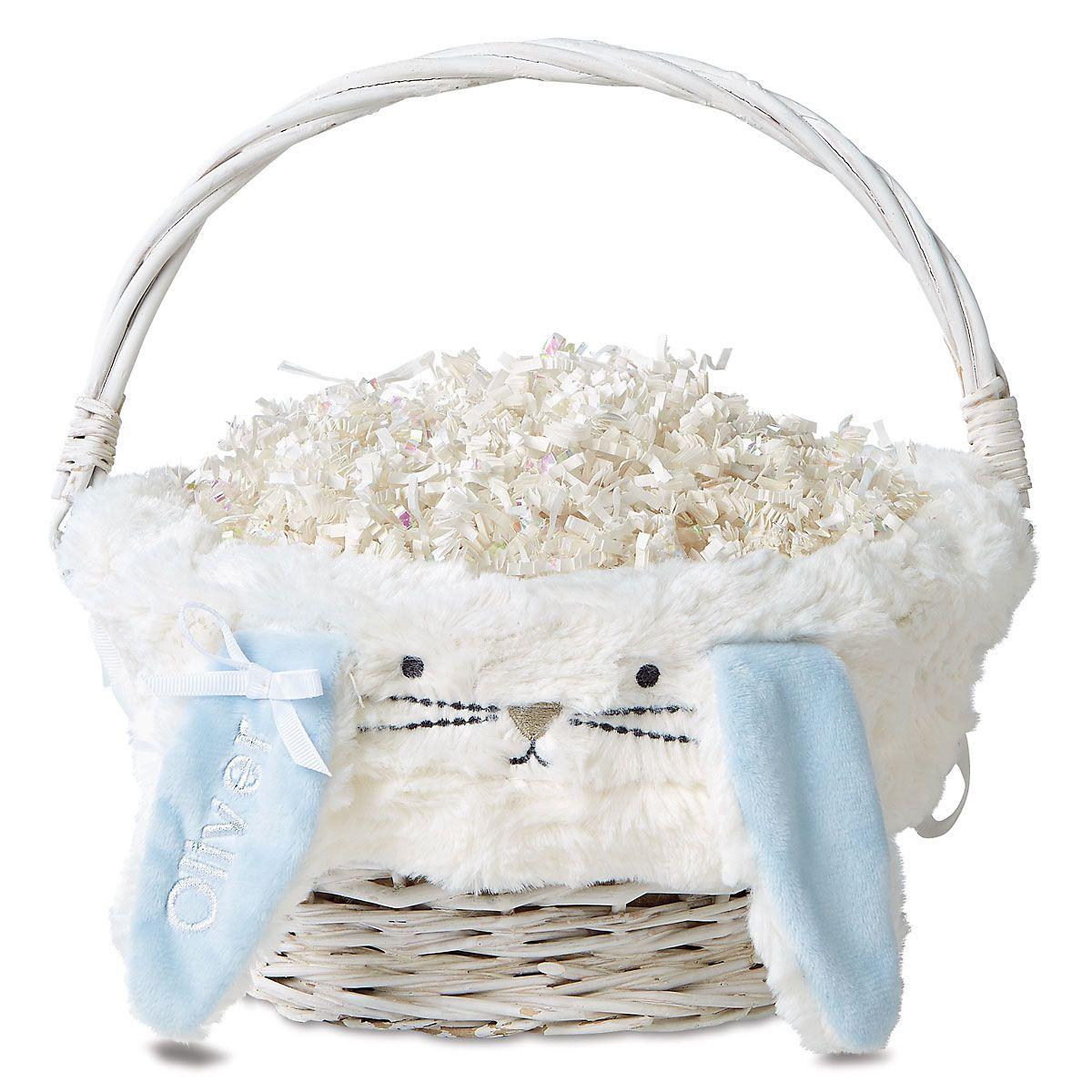Blue Furry Bunny Wicker Basket