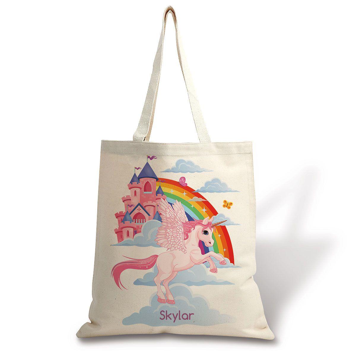 Personalized Unicorn Canvas Tote