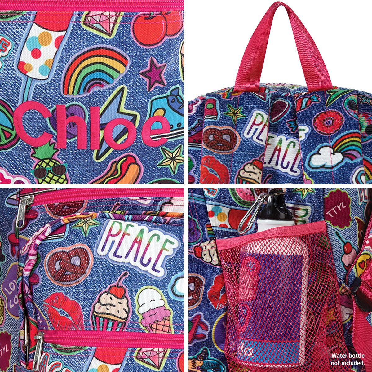 Personalized Denim Patches Backpack