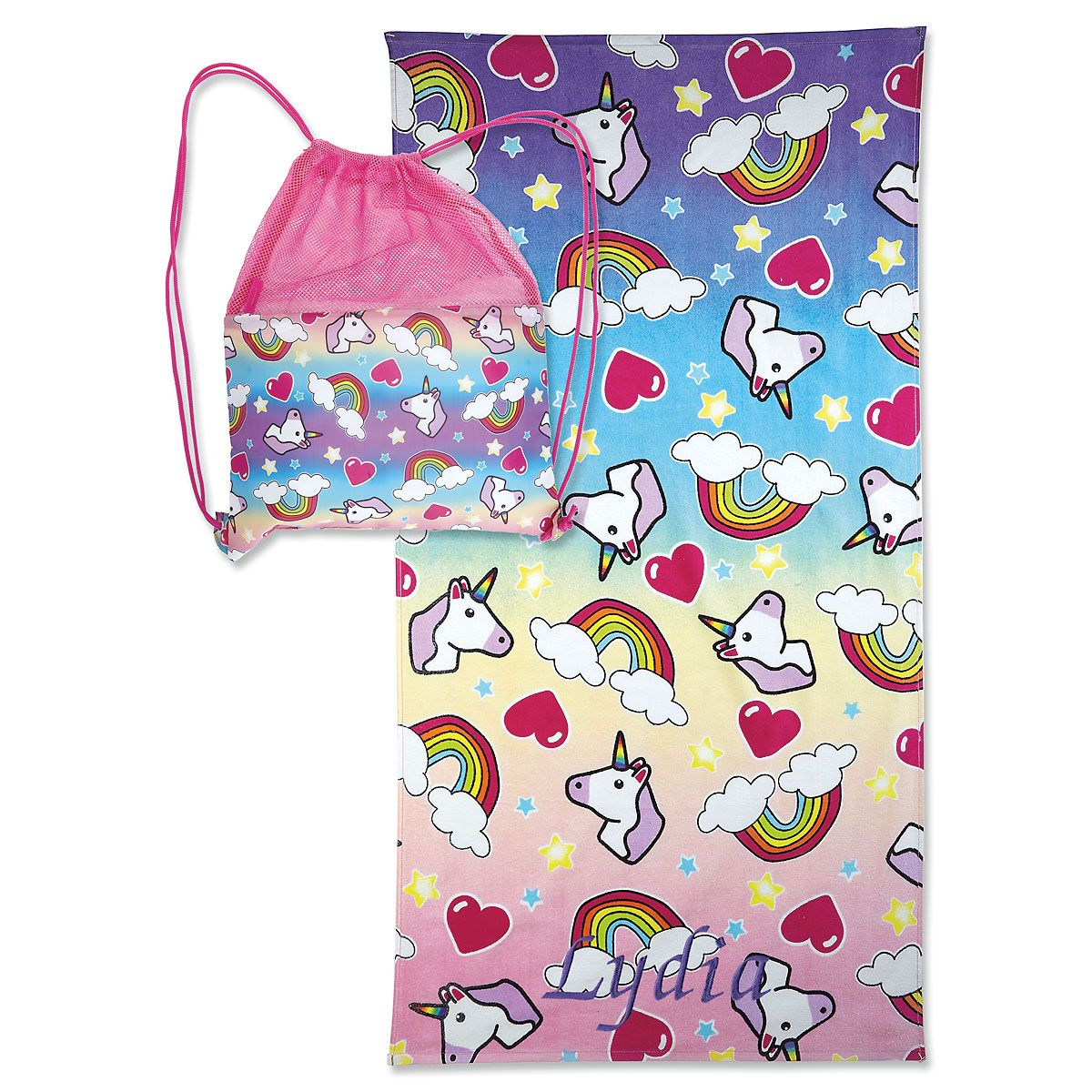 Personalized Unicorn Towel with Drawstring Bag