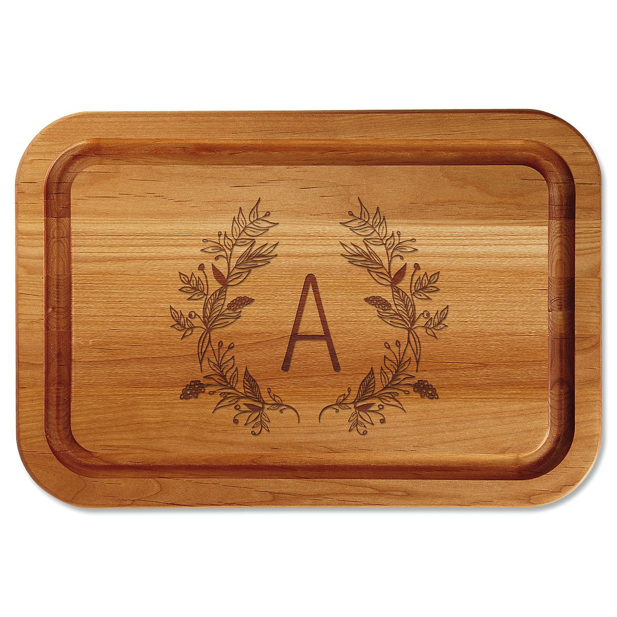 Personalized Floral Laurel Cutting Board