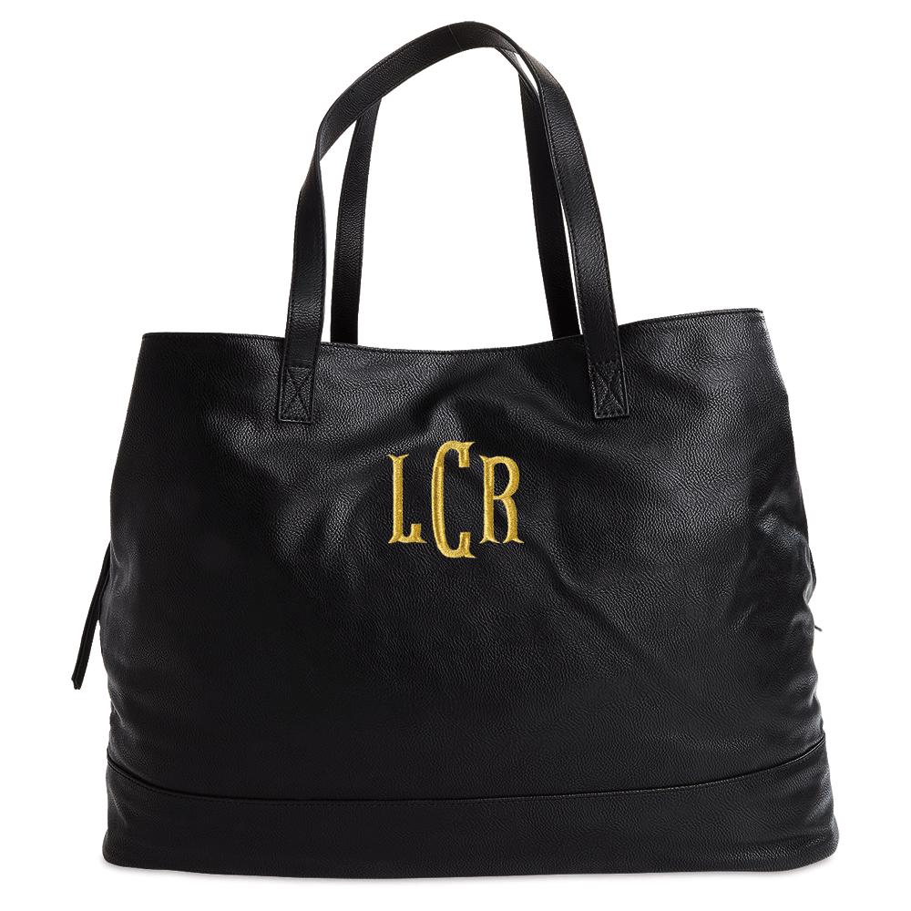 Personalized Black Overnight Travel Bag - Fishtail Monogram