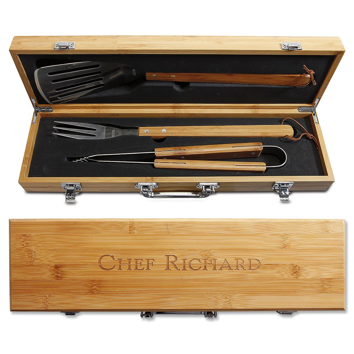Personalized Grill Master Bamboo BBQ Set - With Name