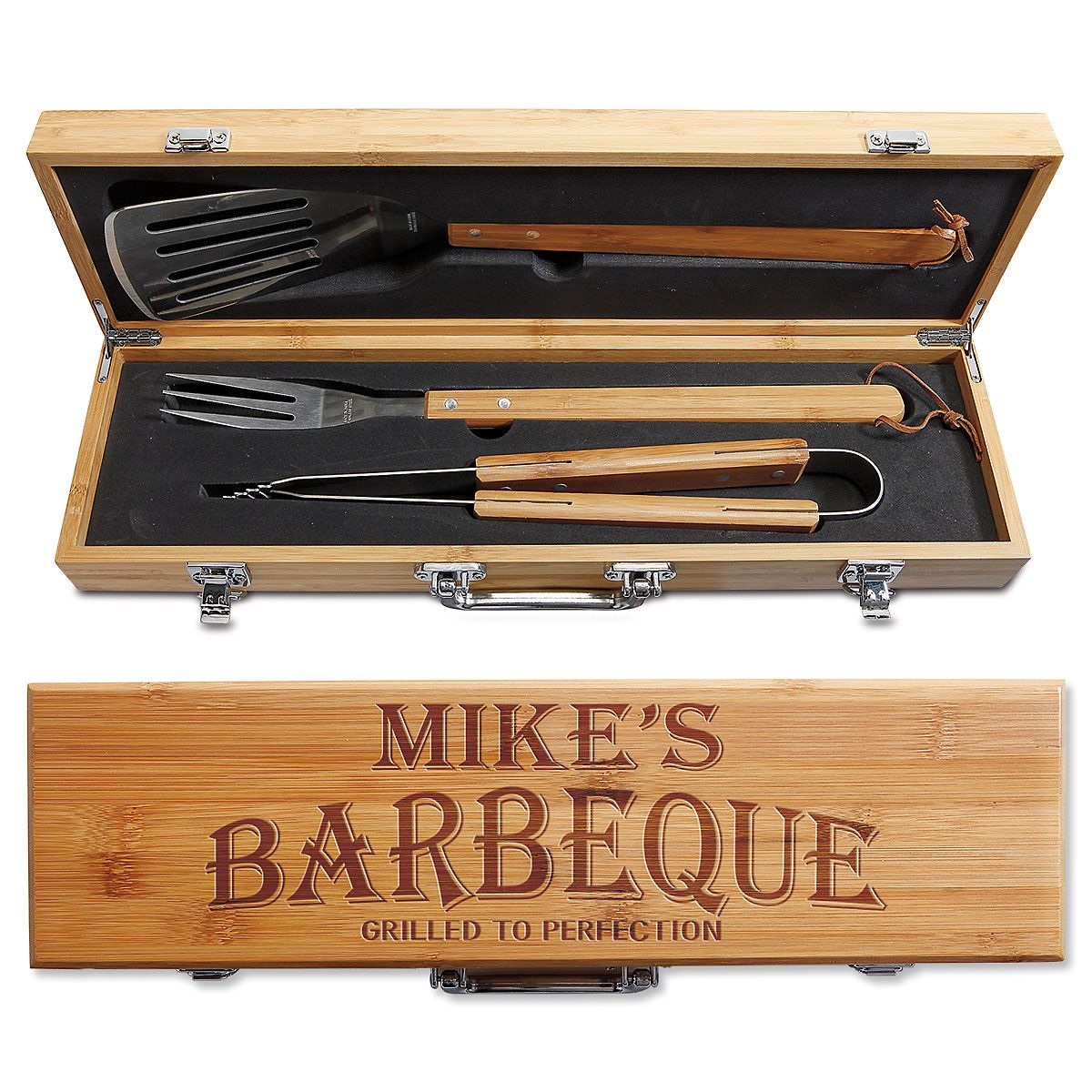 Personalized Bamboo BBQ Box Set - BBQ