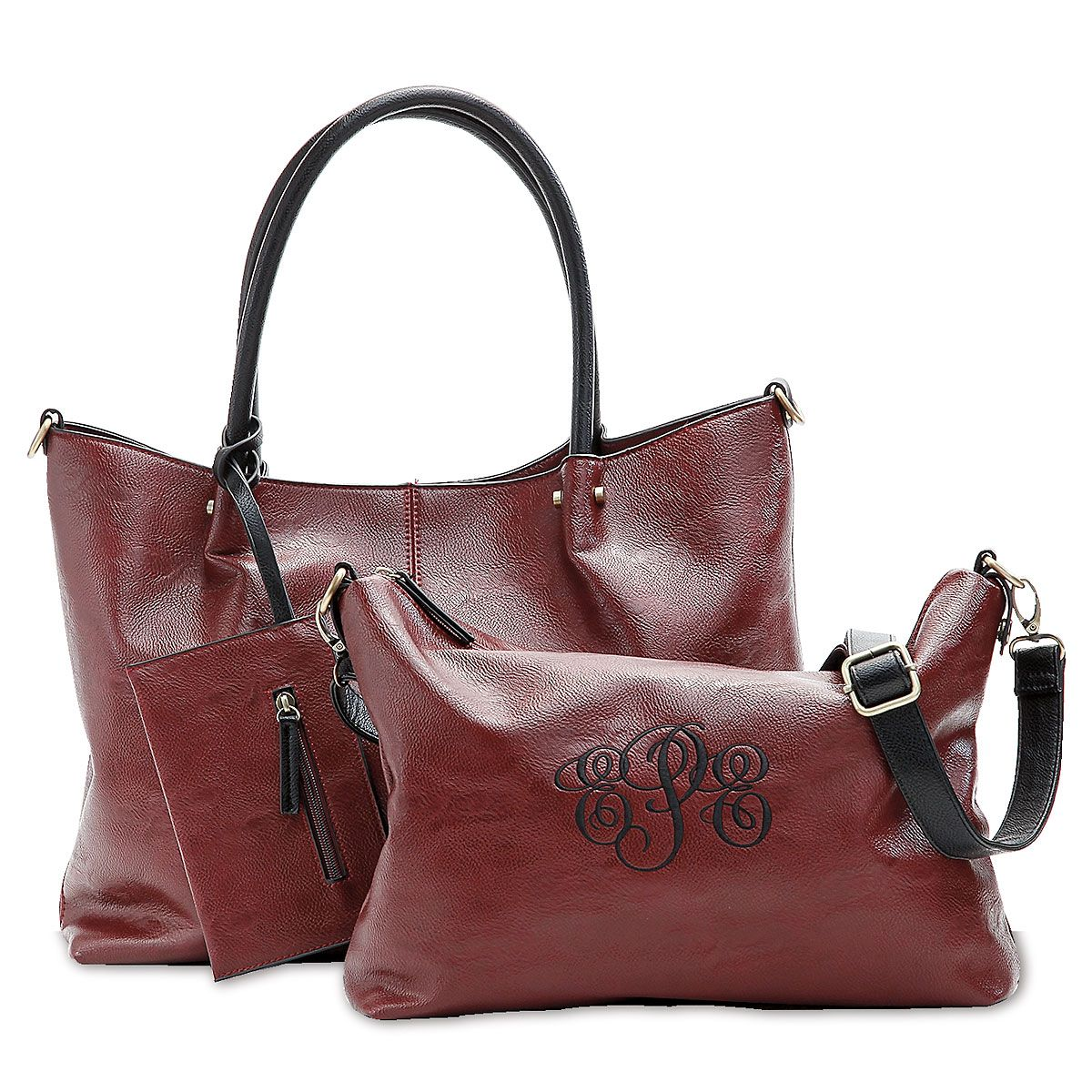 Personalized Burgundy Vegan Leather Tote Set