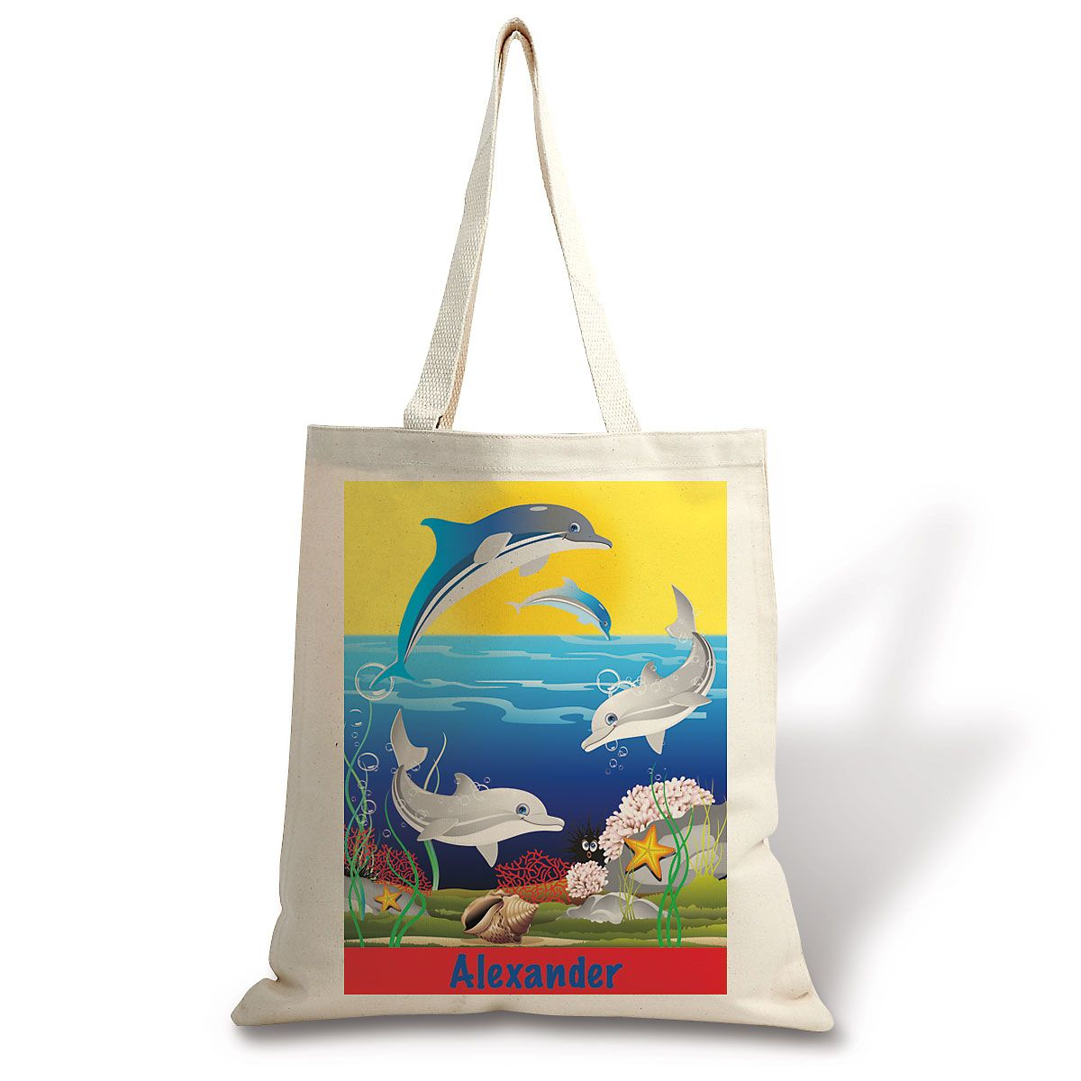 Personalized Dolphin Canvas Tote