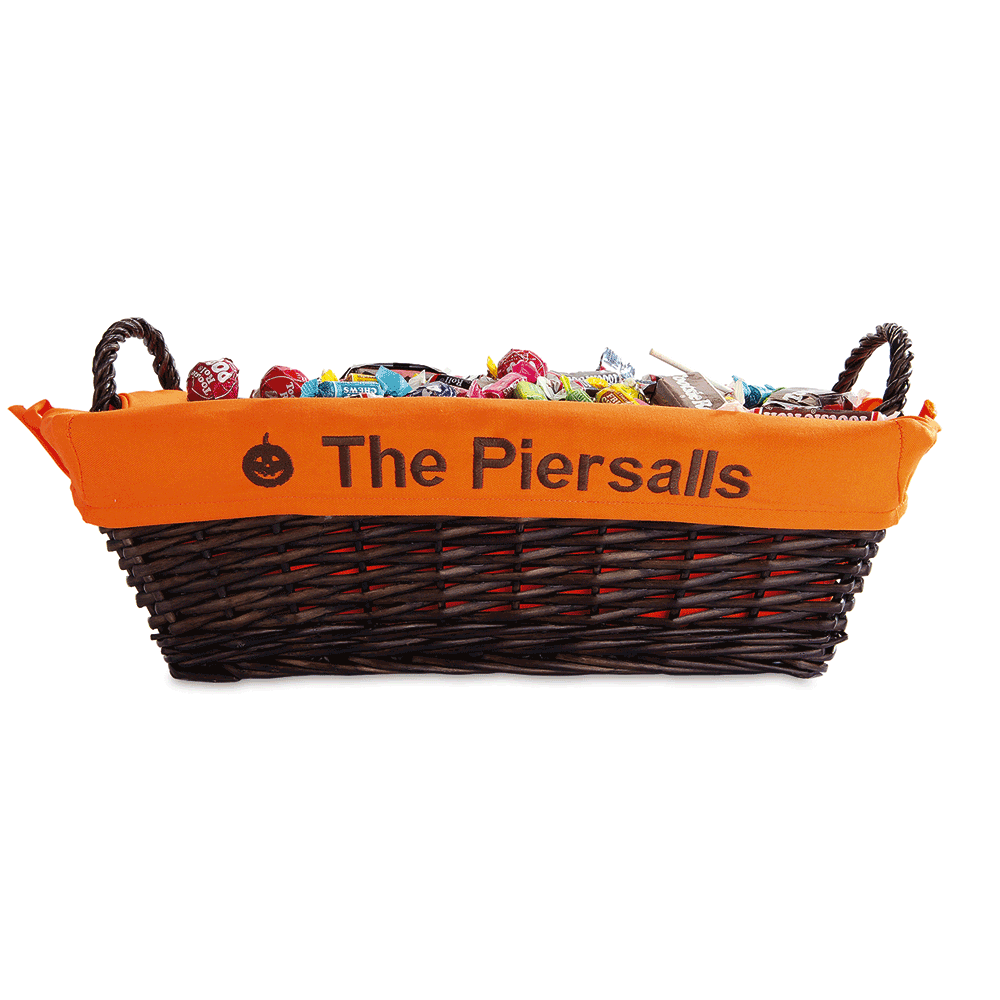 Personalized Lined Halloween Basket