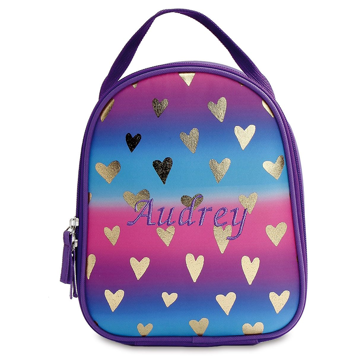 Personalized Gold Hearts Lunch Bag