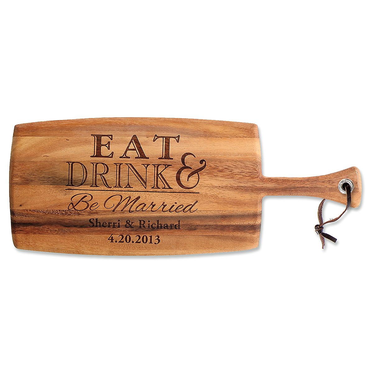 Personalized Eat, Drink & Be Married Paddle Cutting Board
