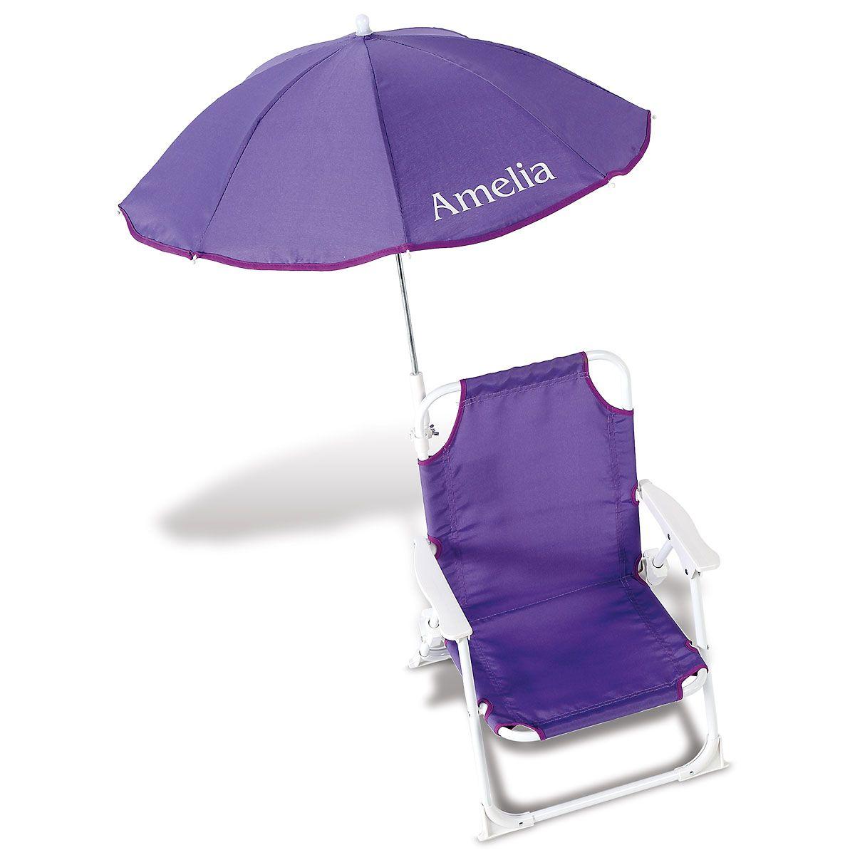 Personalized Child-Size Purple Umbrella Beach Chair