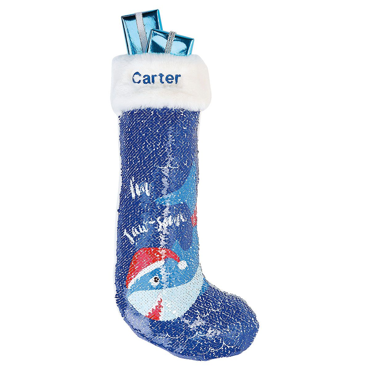 Personalized Shark Sequin Magic Stocking