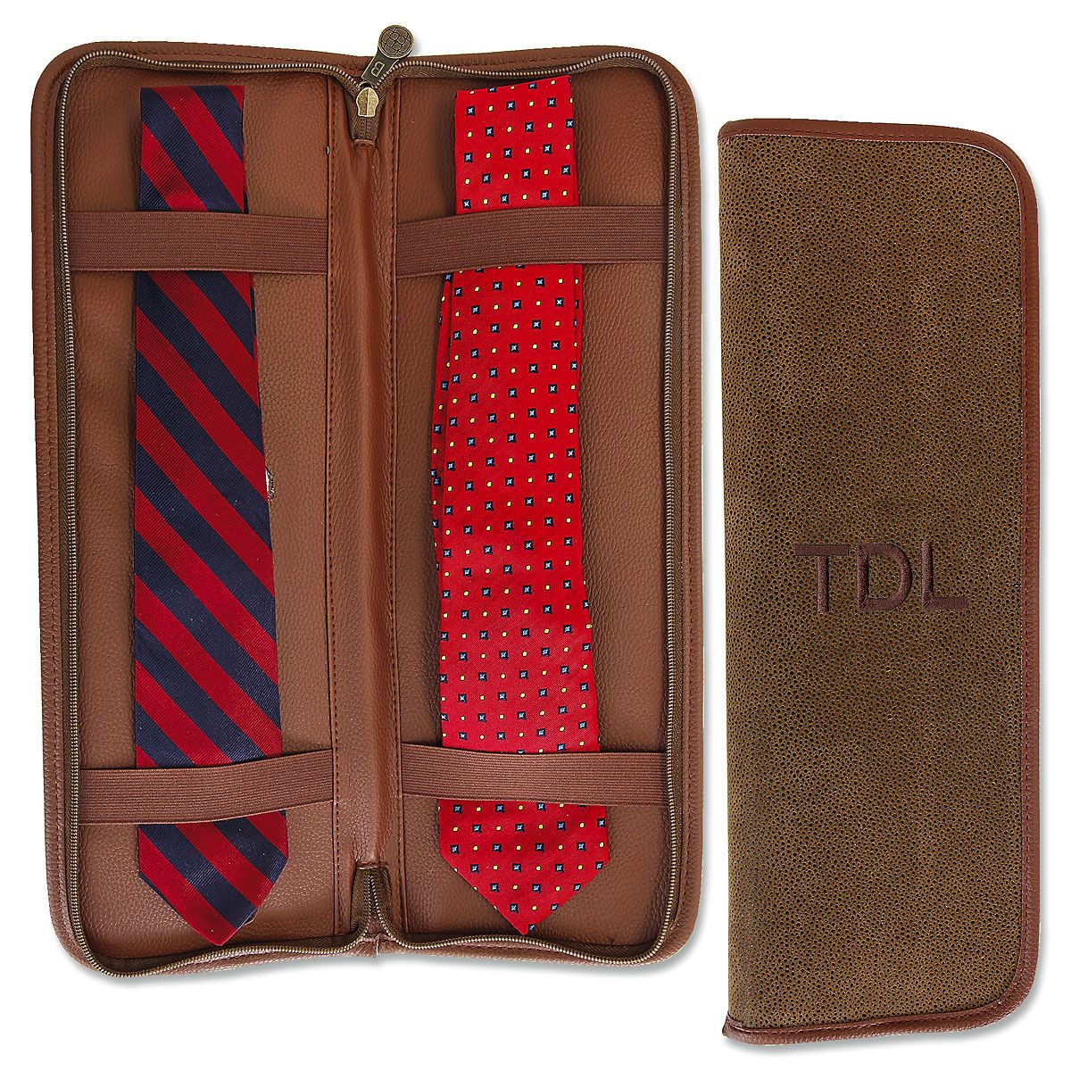 Personalized Brown Suede Tie Travel Case