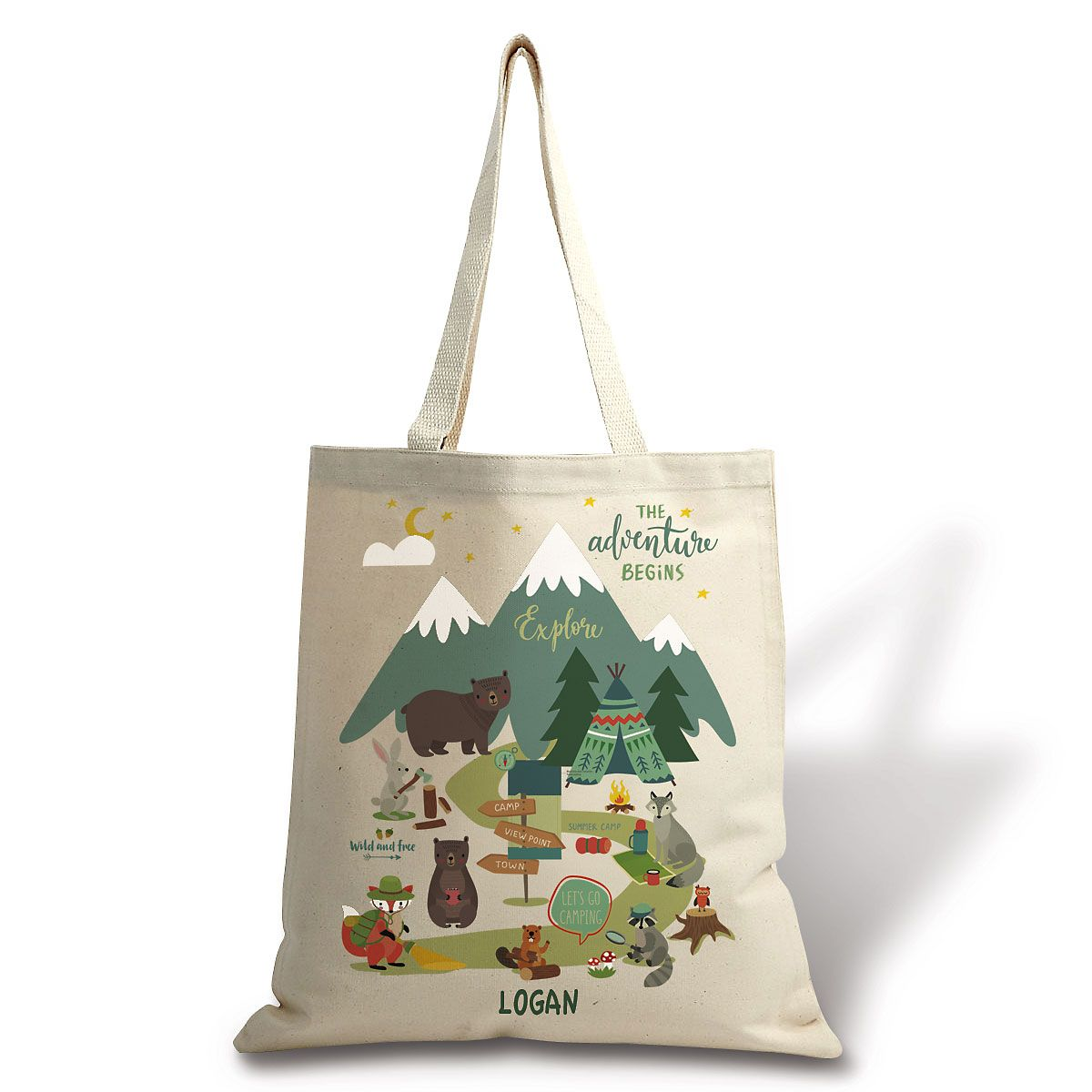 Personalized Woodland Animals Canvas Tote