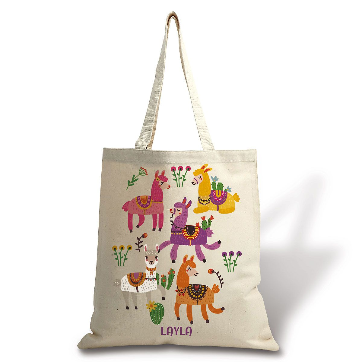 Personalized Llama Canvas Tote