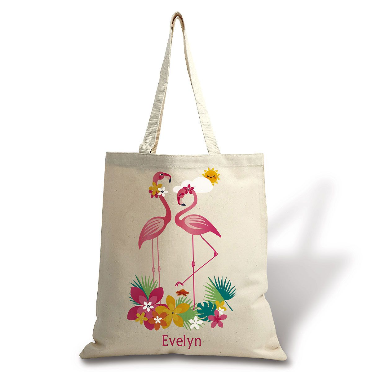 Personalized Flamingo Canvas Tote