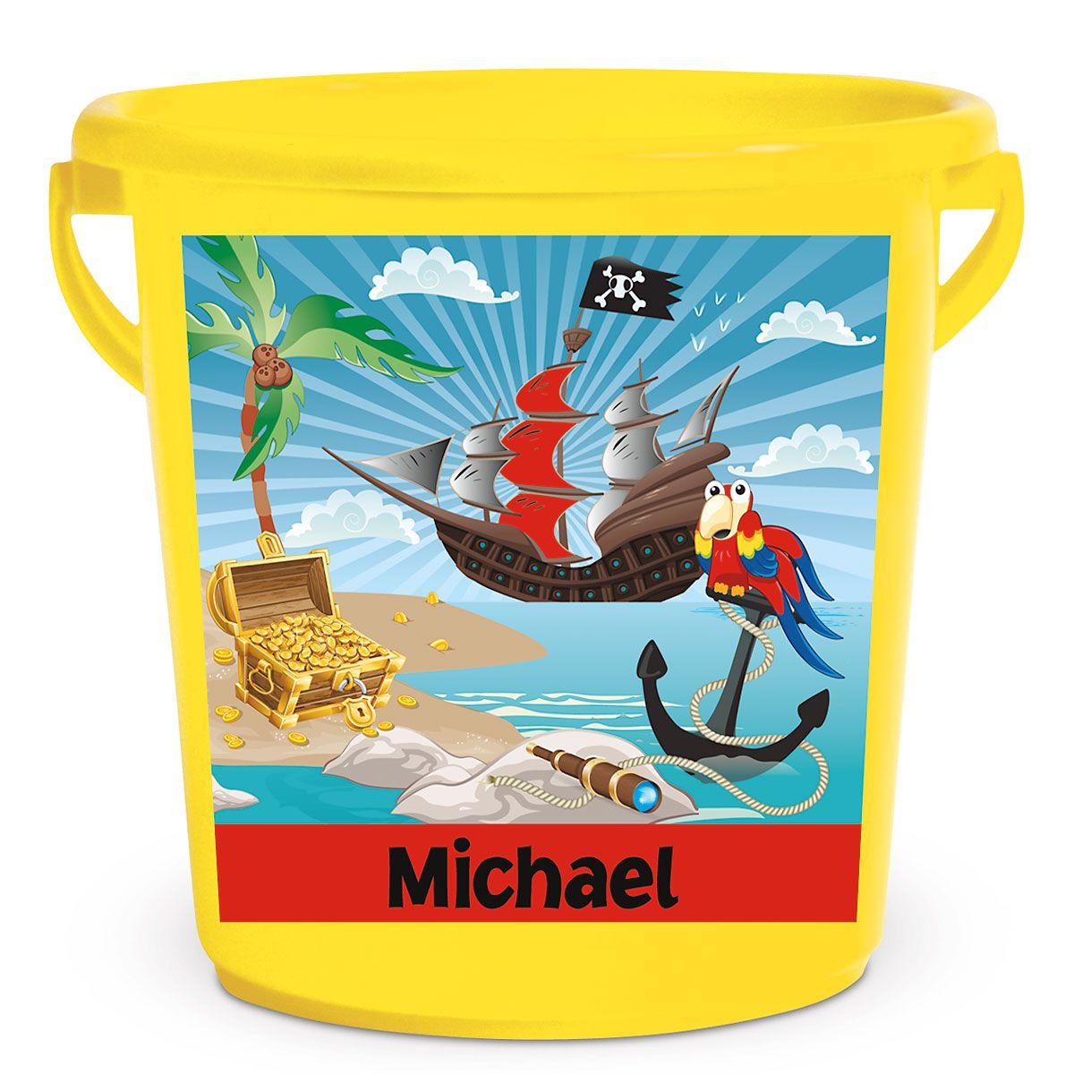 Personalized Kids Beach Bucket - Pirate