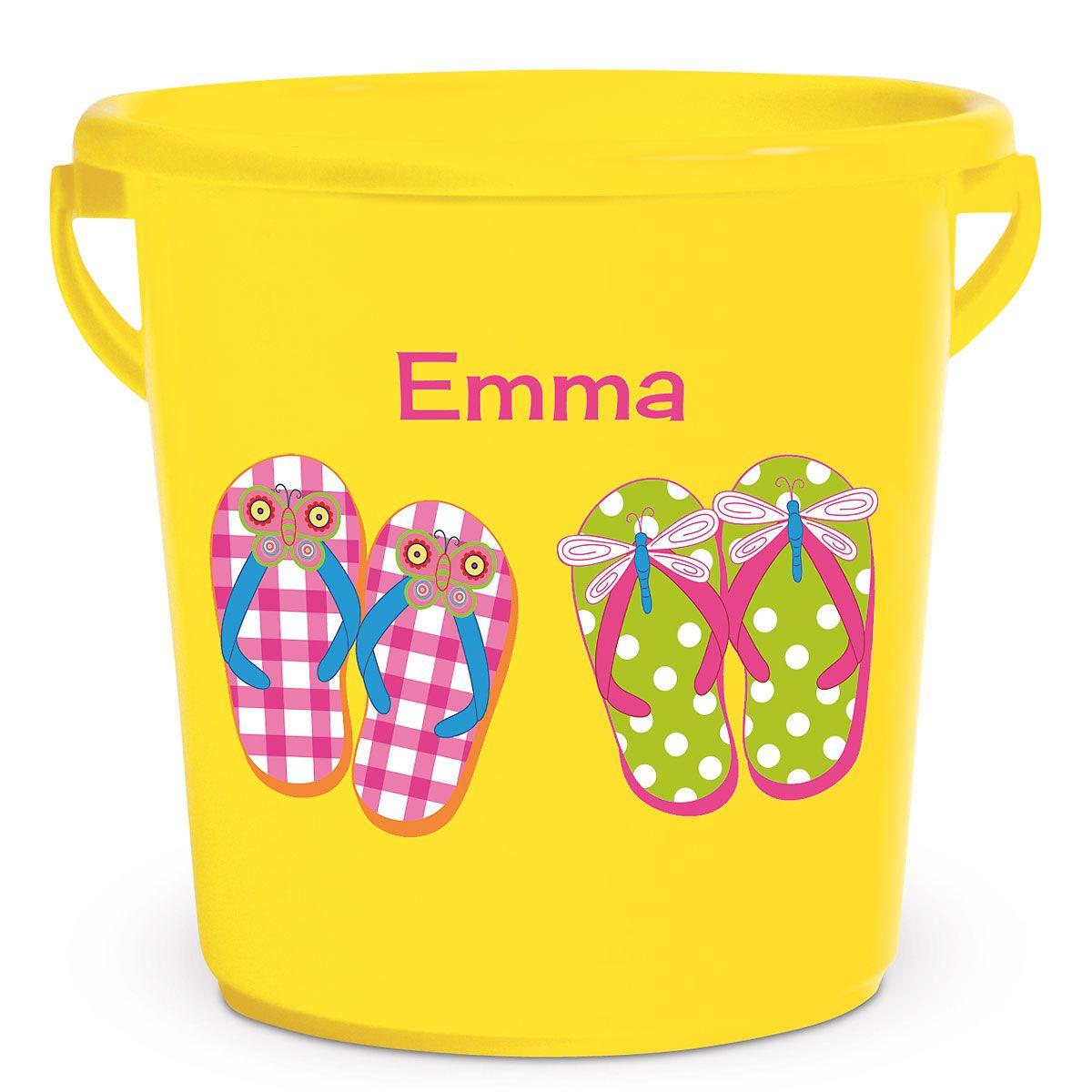 Personalized Kids Beach Bucket - Flip Flops