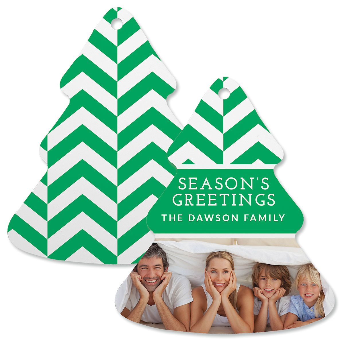 Green Chevron Photo Ornament – Tree