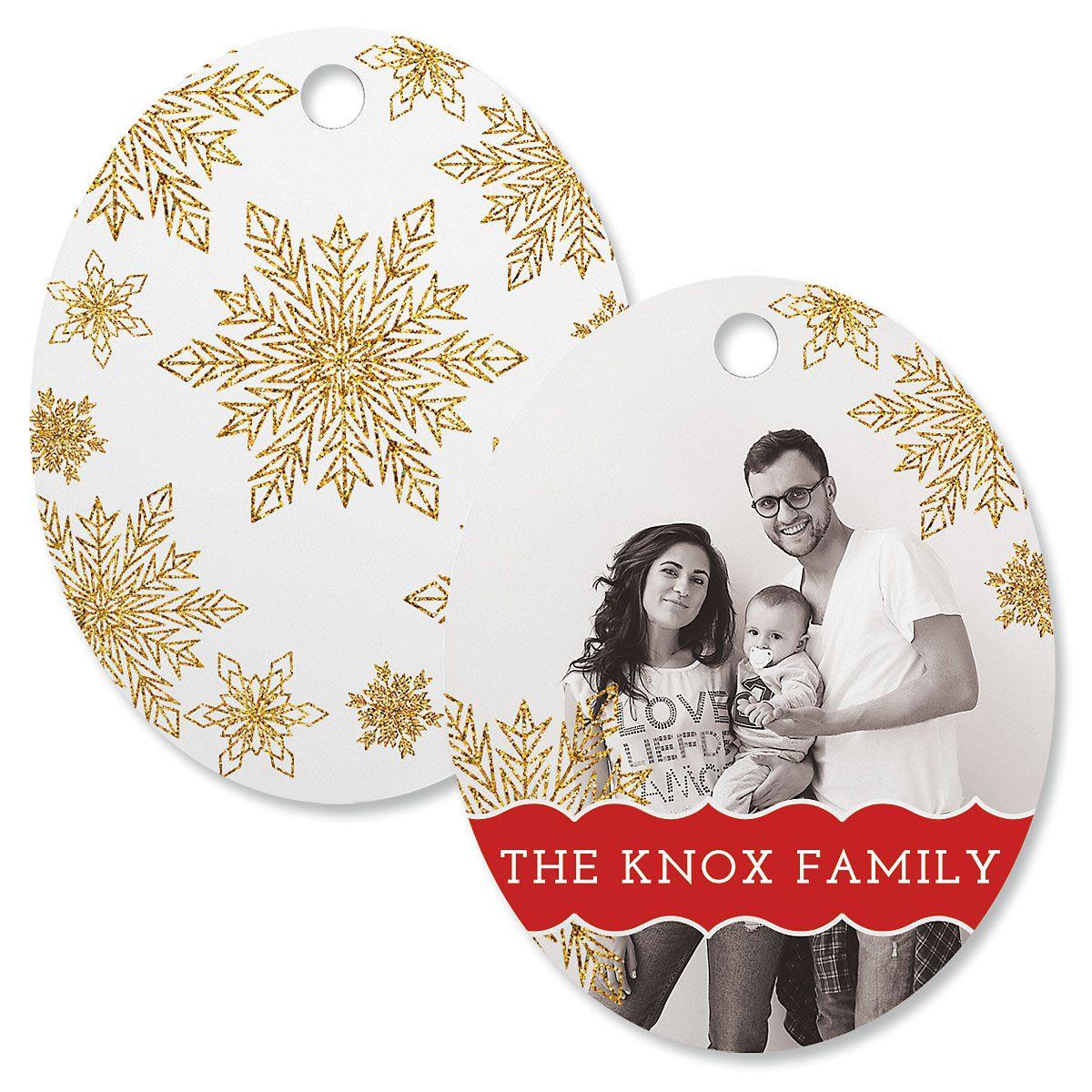 Glitter Snowflake Photo Ornament – Oval