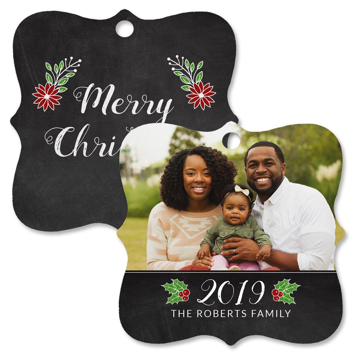 Merry Chalkboard Photo Ornament – Square Bracket