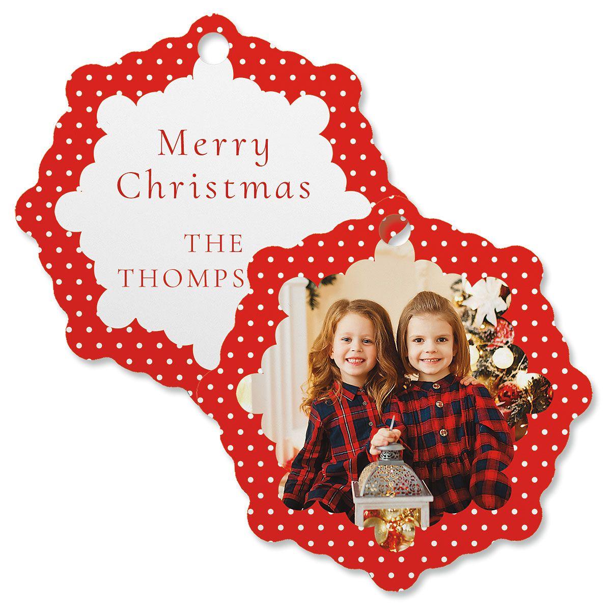 Polka Dot Photo Ornament – Snowflake