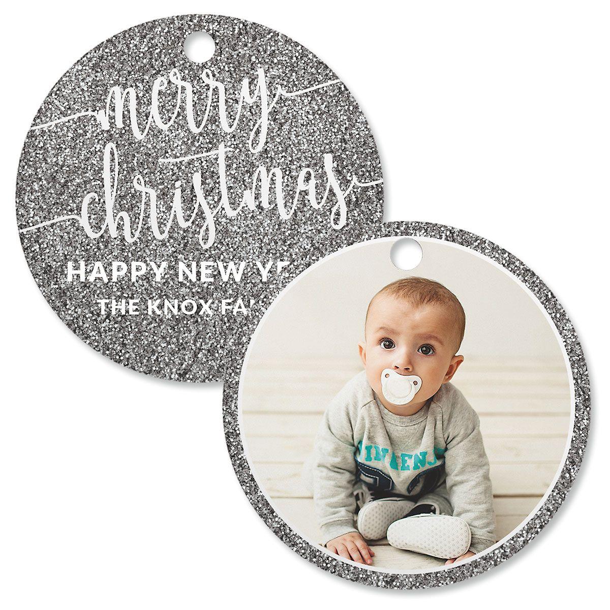 Silver Glitter Photo Ornament – Circle