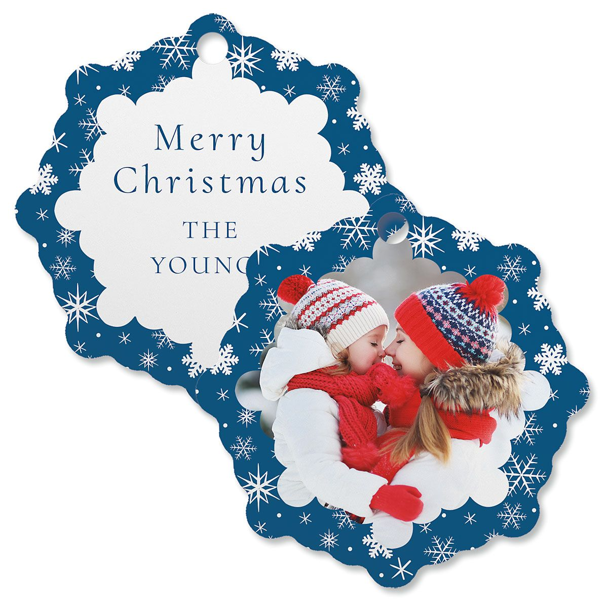 Blue Snowflake Photo Ornament – Snowflake