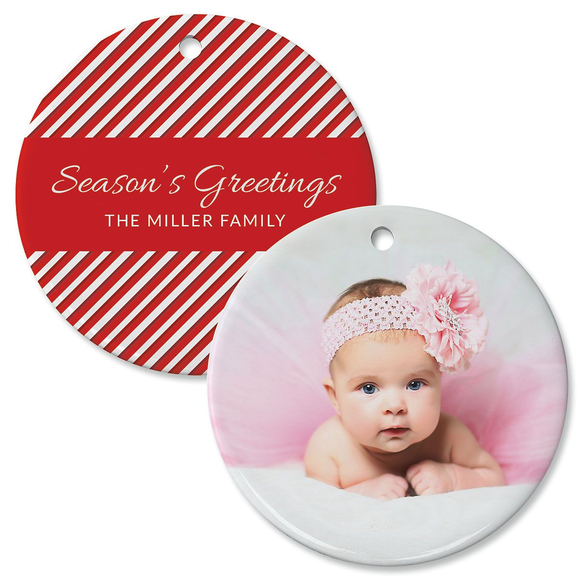 Candy Cane Photo Ornament – Circle