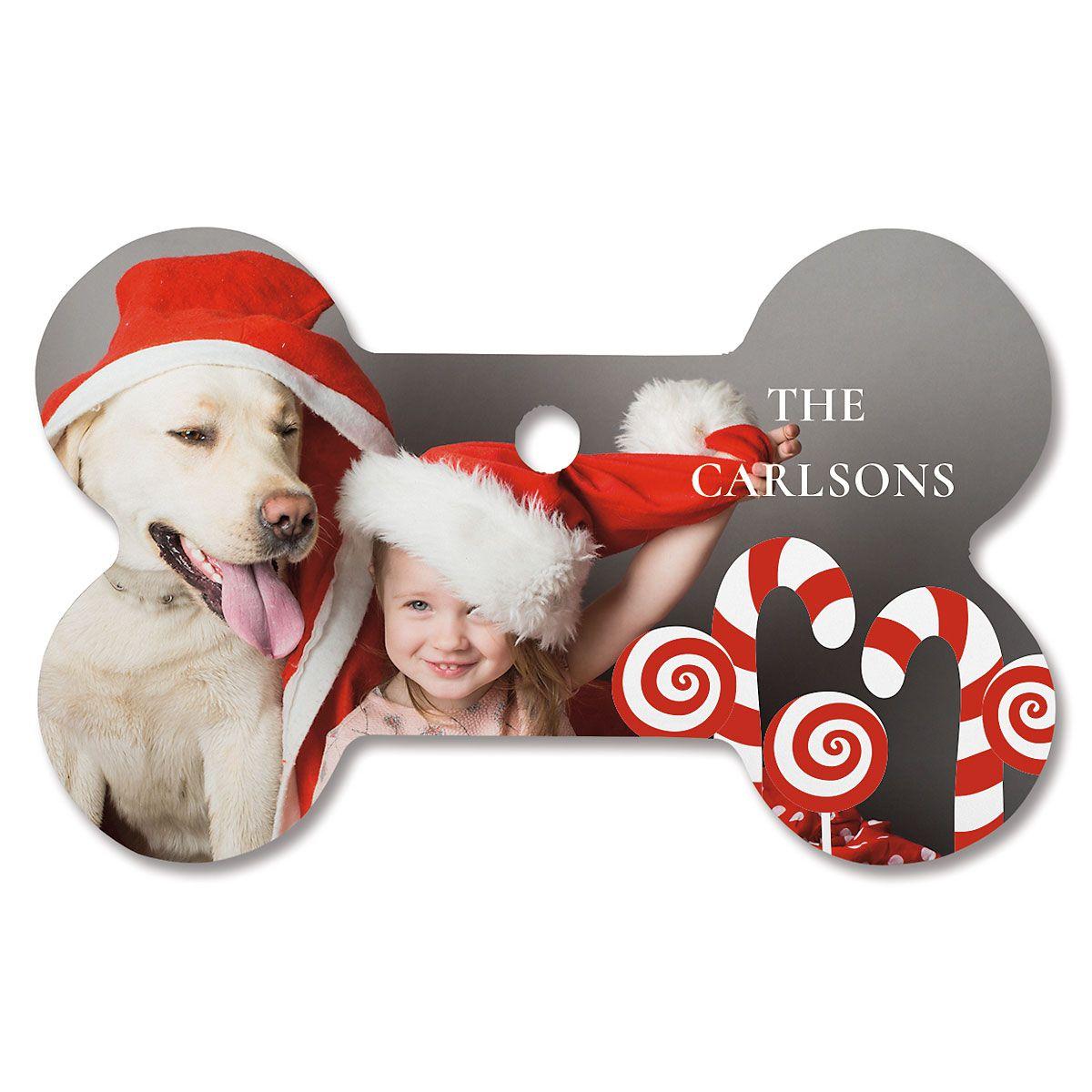 Candy Cane Photo Ornament - Bone