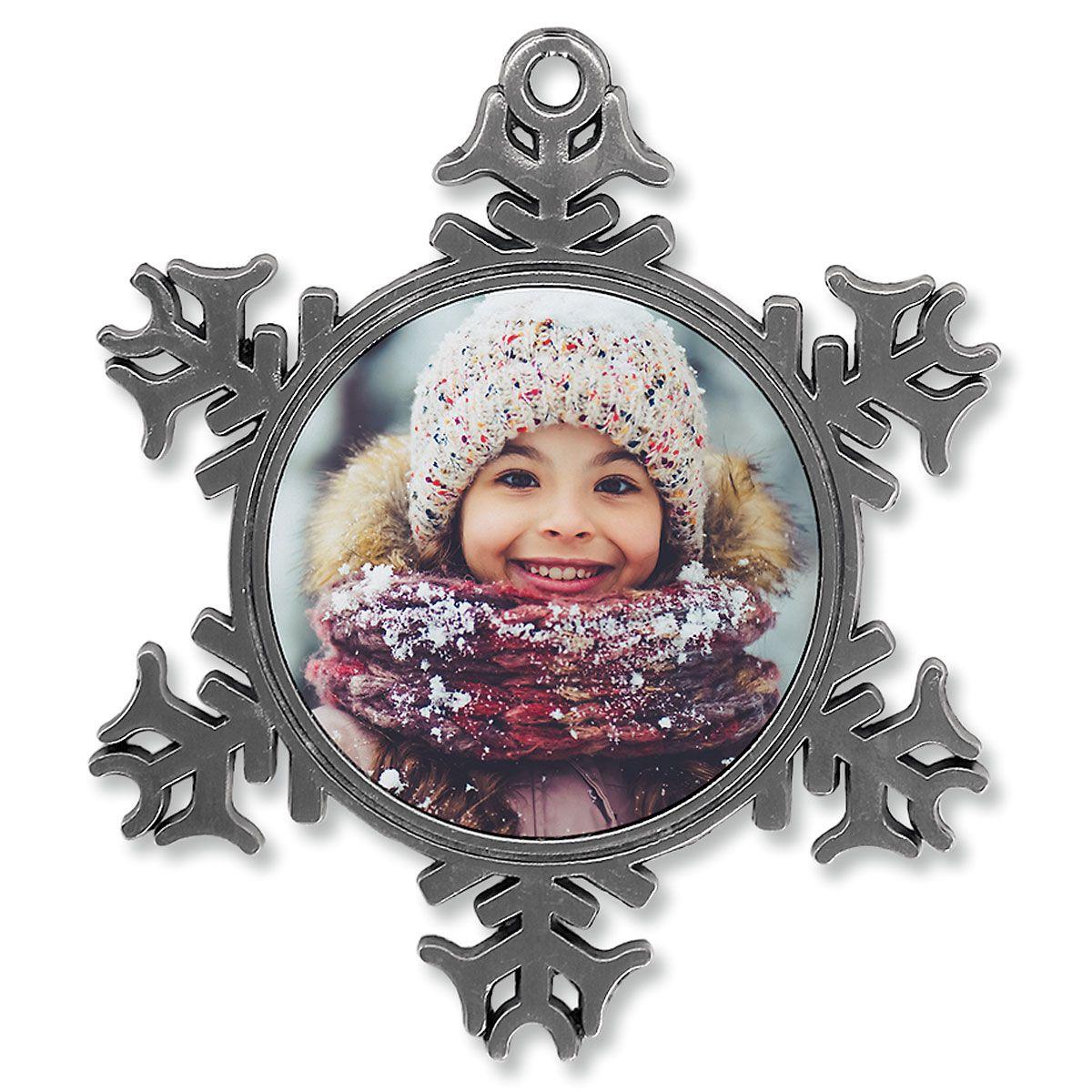 Full Photo Ornament - Metal Snowflake