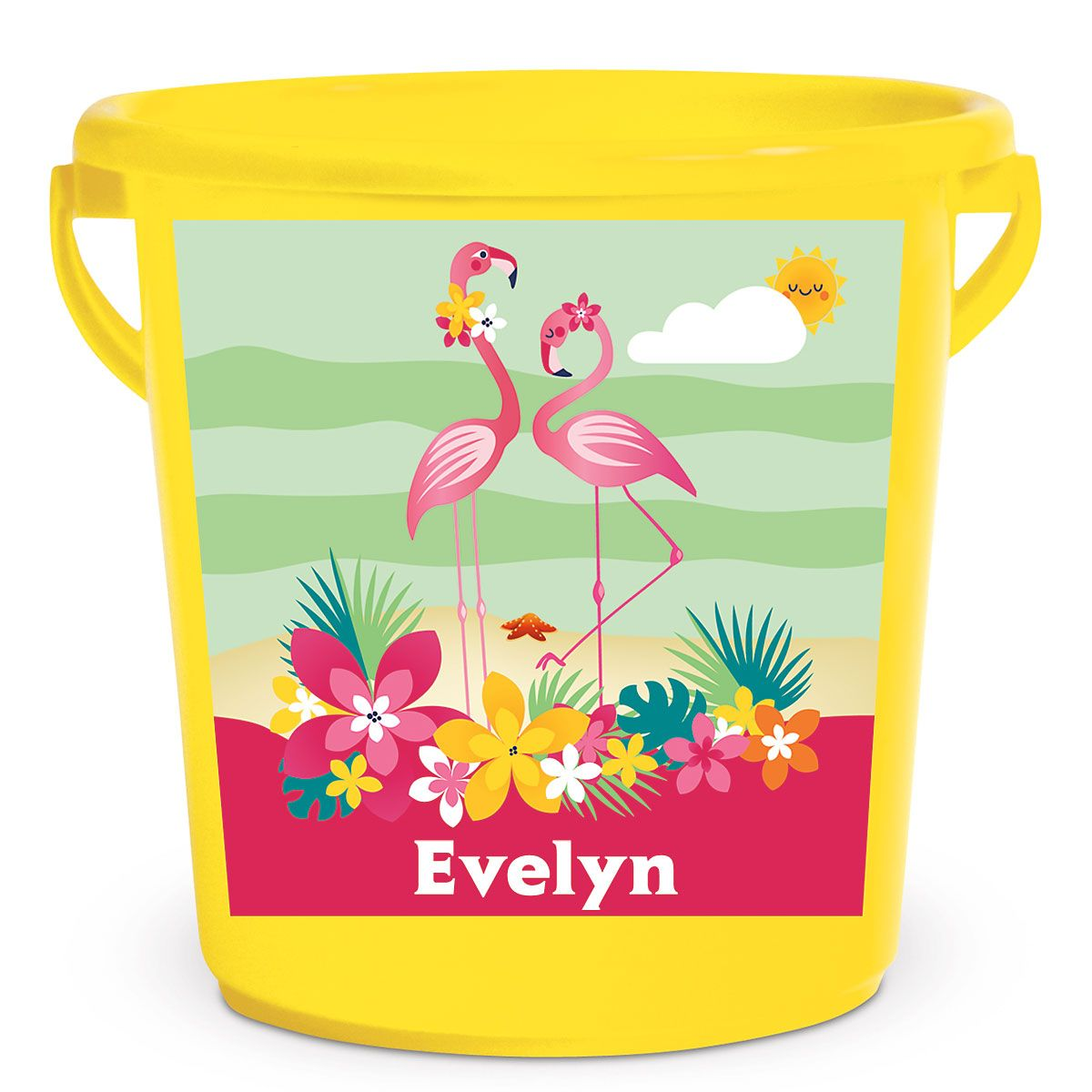 Personalized Kids Beach Bucket - Flamingo