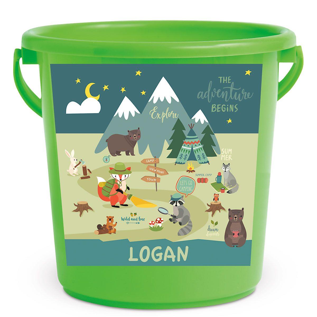 Personalized Kids Beach Bucket - Woodland Animals