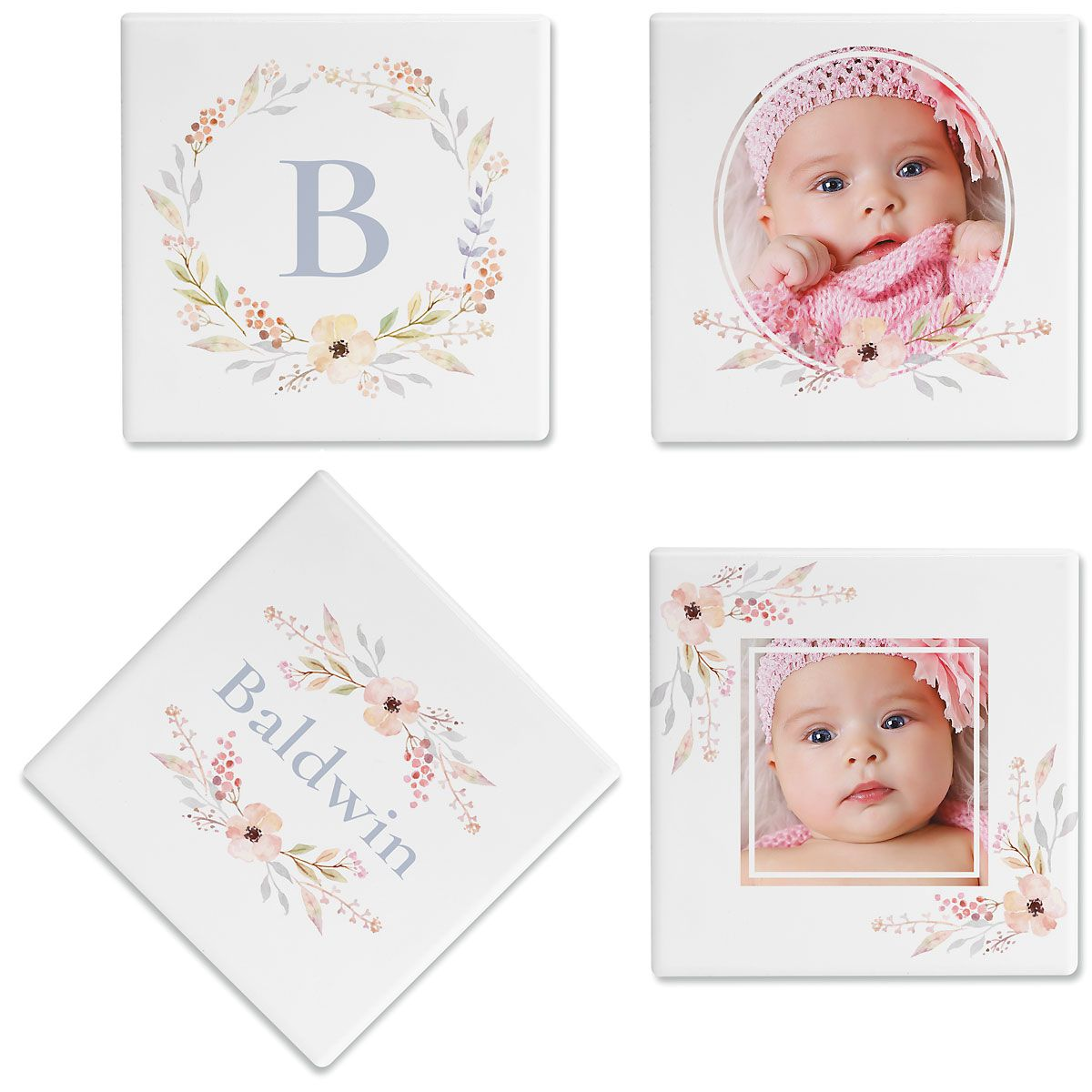 Floral Frame Photo Coasters