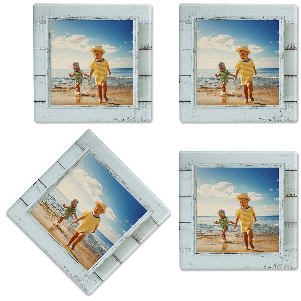 Rustic Blue Shiplap Frame Photo Coasters