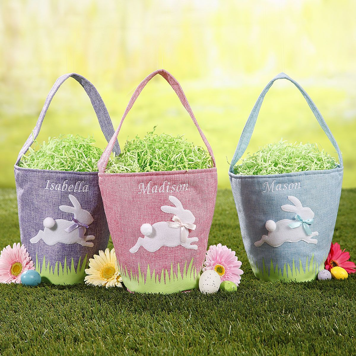 Personalized Linen Easter Bunny Baskets
