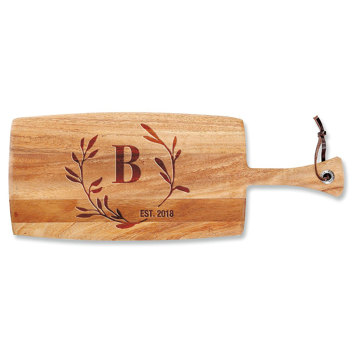 Personalized Circle Laurel Paddle Cutting Board