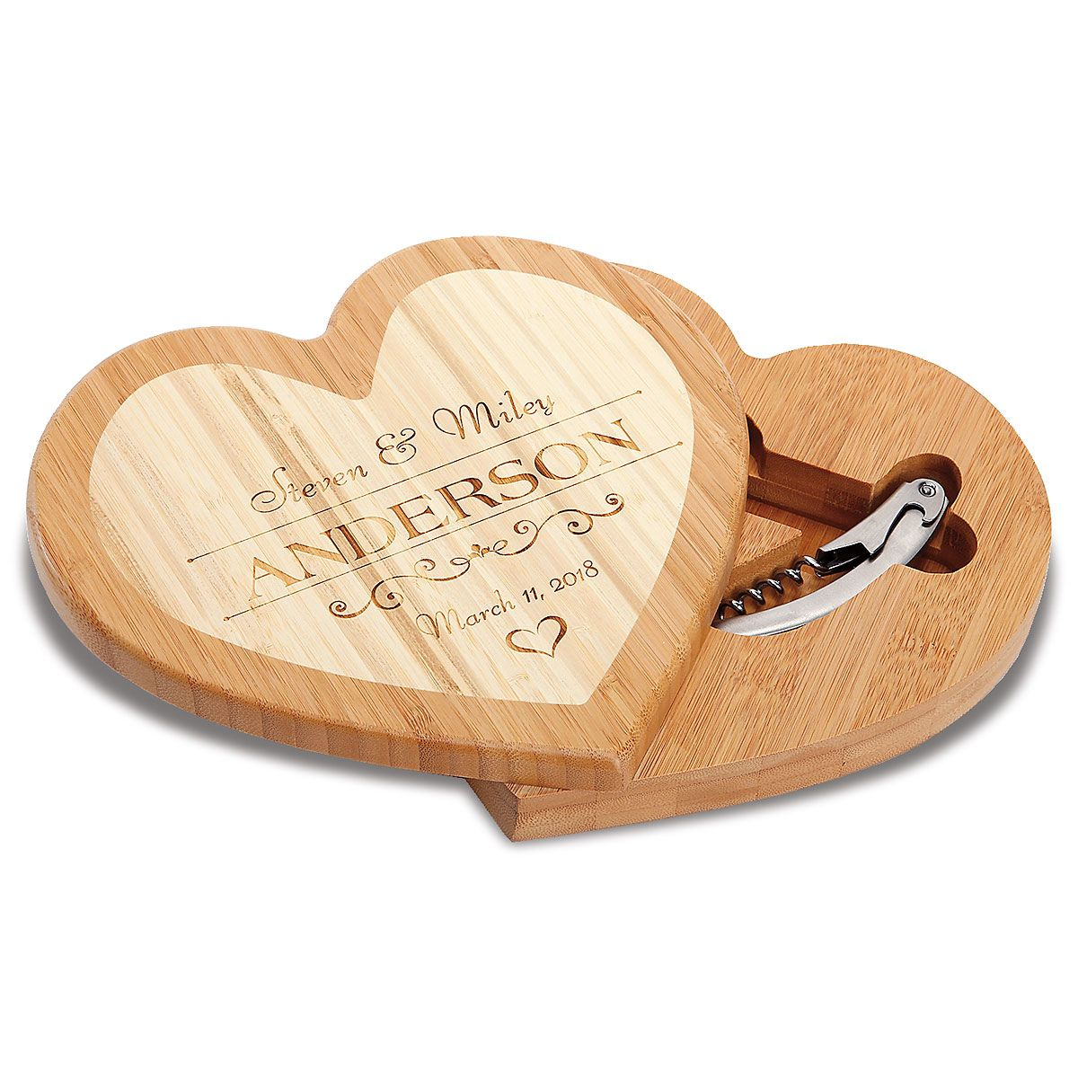 Personalized Heart Cheese Board Set