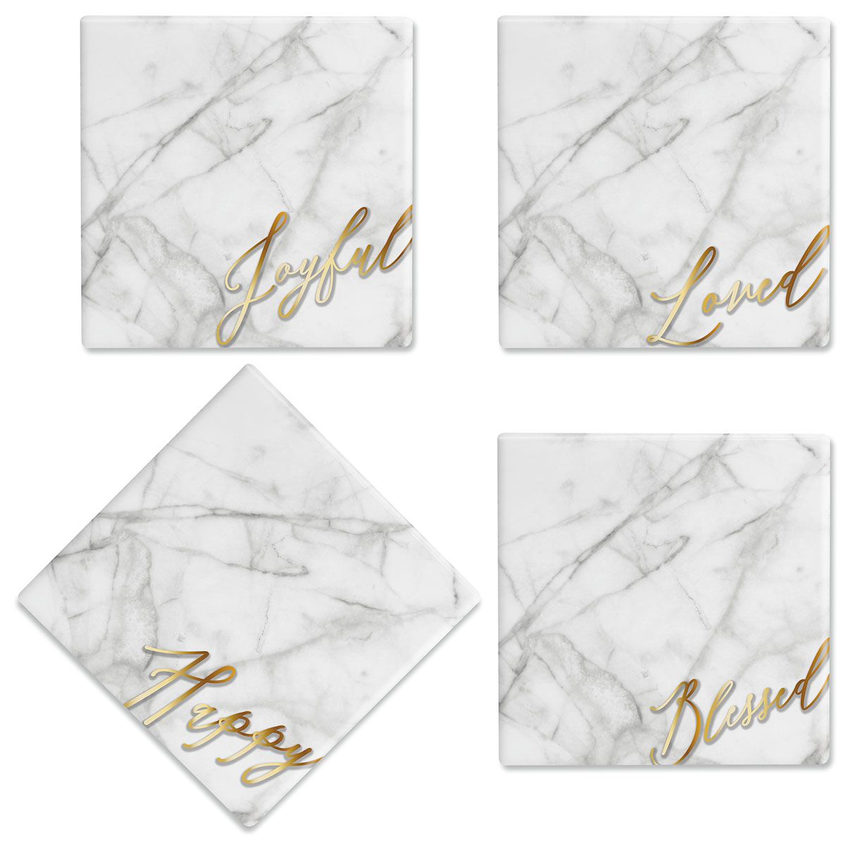 Faux Marble Ceramic Coasters