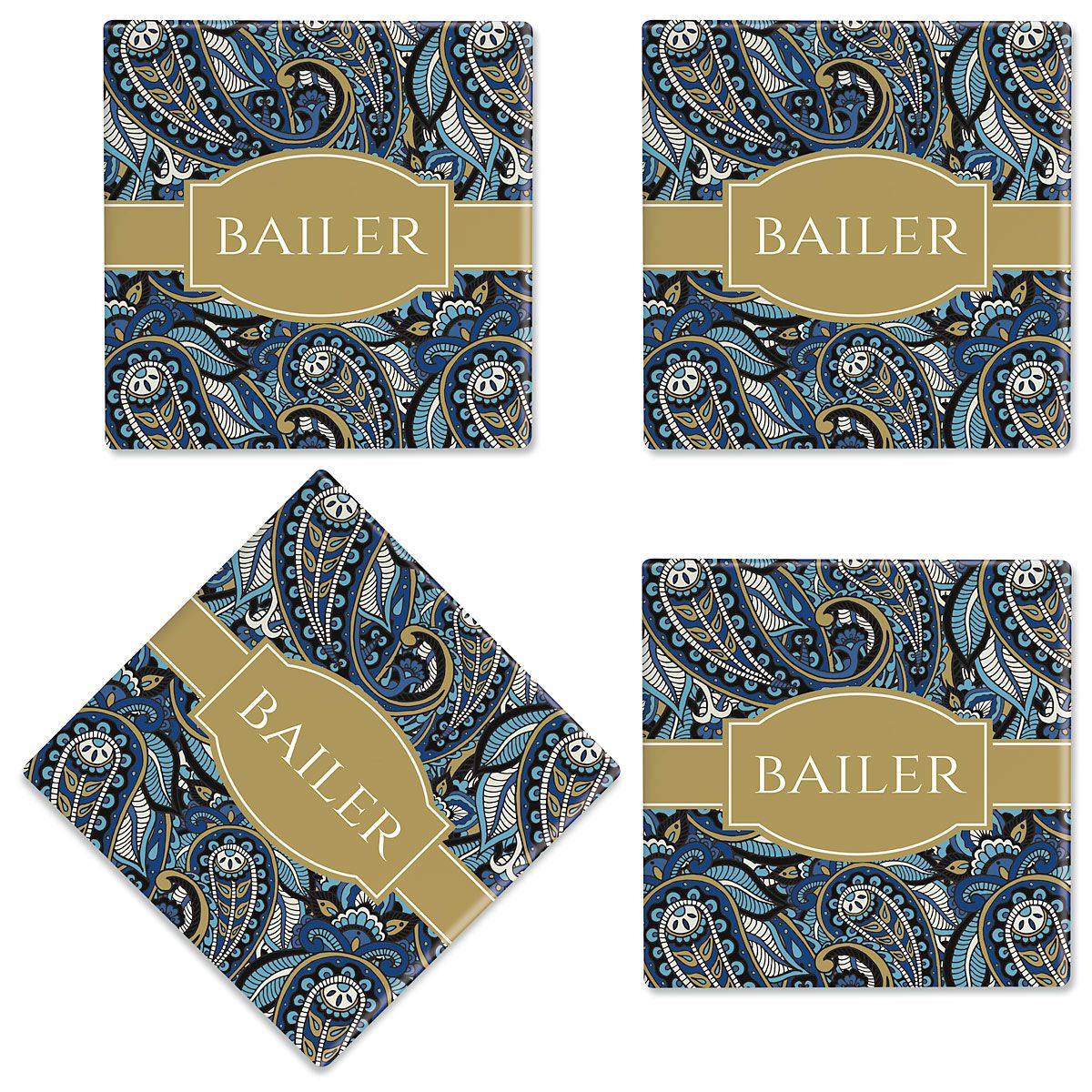 Paisley Personalized Ceramic Coasters
